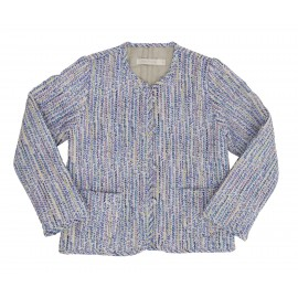 Audrey Quilted Jacket - Blue Stripe Liberty