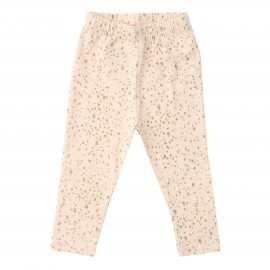 Kimmy Leggings  Allover Print - Vanilla Rose Gold Dot