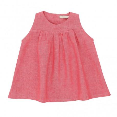 Selena Dress - Pink Lino