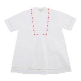 Alberta Dress - White Chambrey w Spiced Coral