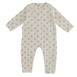 Terry Jumpsuit - Panda Print Chalk
