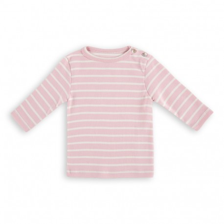 Addison Stripe Tee - Rose off White