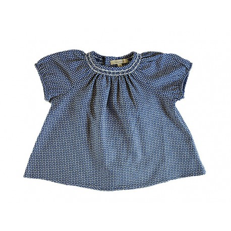 Maria Dress - Navy with White Pattern
